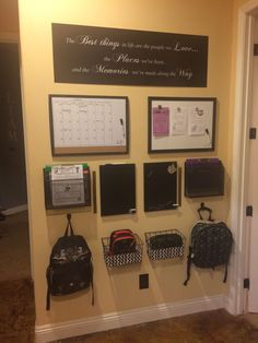 Space/ organization station, family organization wall, home organisation, k Family Organization Wall, Home Organisation, Family Organizer, School Organization, Organizing, Backpack Organization, Organization Station, Backpack Storage, Organization Ideas