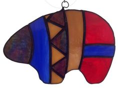 Bear fetish stained glass suncatcher by ColoursintheAir on Etsy Stained Glass Designs, Stained Glass Panels, Stained Glass Projects, Stained Glass Patterns, Stained Glass Art, Stained Glass Ornaments, Stained Glass Christmas, Fused Glass Art, Mosaic Glass