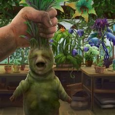 A screaming mandrake seedling in a Herbology Lesson