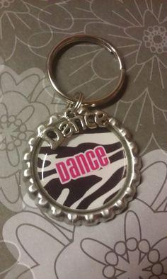 Dance Keychain Zebra Print with Dance Charm by tracikennedy, $6.00