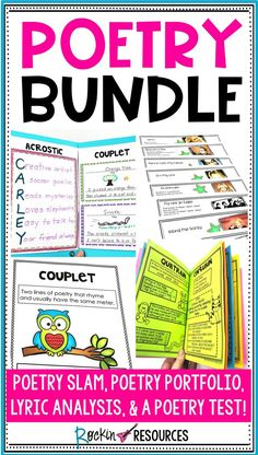 This POETRY BUNDLE is an inclusive teaching tool that contains everything you need to TEACH poetry throughout the year. This resource includes anchor charts, student booklets, and practice pages to teach poetry elements, types of 6th Grade Ela, 4th Grade Reading, 5th Grade Writing, Informational Writing, Narrative Writing, Writing Tips, Poetry Unit, Writing Poetry, Teaching Poetry