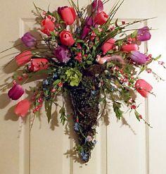 Door Wreath, Wall Pocket, Moss Cone Tulip Floral Arrangement with Bird Nest, Moss Wreath, Pink Purple, Holidays, Wall Decor, Gift Ideas on Etsy, $59.00