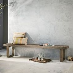 Portside Dining Bench, Weathered Gray At West Elm Concrete Outdoor Dining Table, Round Wood Table, Wood Dining Bench, Dining Chairs, Dining Sets, Table Bench, Kitchen Benches, Patio Dining, Outdoor Furniture Covers