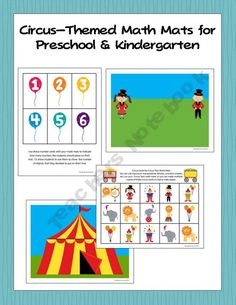 Circus Themed Math Mats for Preschool and Kindergarten Preschool Circus, Circus Activities, Preschool Education, Preschool Kindergarten, Preschool Activities, Circus Crafts, Circus Theme Classroom, Kindergarten Units, School Themes