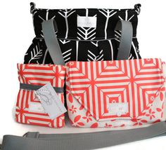 Diaper Bag Gift Set - Black Arrow Diaper Bag - Coral Floral Diaper Clutch - Messenger Strap