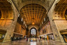 Despite the inherent gorgeousness of the gilded, domed Great Hall at Union Station, come December, it's more synonymous with slush-soaked winter co. Union Station, Pop Up Market, Holiday Pops, Perspective Art, World's Most Beautiful, Landscape Photos, Ontario, Toronto, Canada
