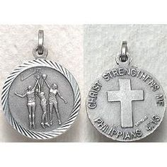 Christian Sterling Silver Sports Medal - Girls Basketball