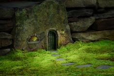 mossy path leads to a door in a stone wall  ************************************************  Moss - #fairy #garden #miniature #whimsical - tå√