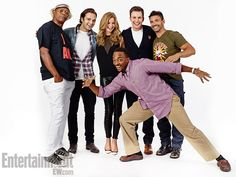 Samuel L. Jackson, Sebastian Stan, Emily VanCamp, Chris Evans, Frank Grillo; (foreground) Anthony Mackie, Captain America: The Winter Soldier