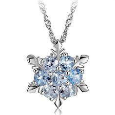 Snowflake 925 Silver Necklace Blue Crystal  made with Genuine Swarovski Element #Swarovski #NecklacePendant