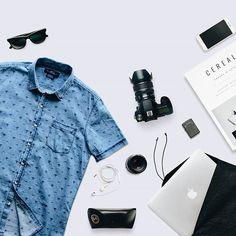 Flatlay content for svperbia.  #instagram #flatlay #contentmarketing #thingsorganizedneatly #camera #macbook #apple #technology #cerealmagazine #rayban #svperbia