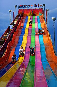 Your mom or dad just took you to have fun on their Euroslide in Toronto, Canada. Taste The Rainbow, Over The Rainbow, Rainbow River, World Of Color, Color Of Life, Rainbow Connection, Westminster, Rainbow Colors