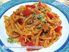 Spaghetti con tonno pomodorini e mandorle