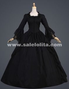 20eba14e23 2016 Noble Vintage Black Flare Sleeves Medieval Civil War Gothic Victorian  Ball Gown For Party