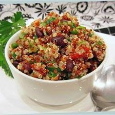 Zesty Quinoa Salad ~  This bright and colorful salad is a great summertime recipe (or anytime you want to feel like it's summertime). Light and citrusy, it's a whole new way to enjoy quinoa. Lime juice and cilantro give a refreshing kick, while quinoa and black beans provide tasty vegan protein. If you're not vegan, add even more protein by adding chunks of chicken or turkey. Yum!