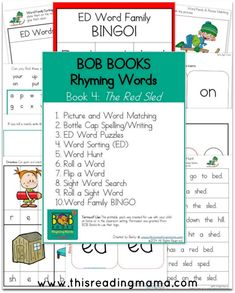 FREE PRINTABLES for BOB Books Rhyming Words, Book 3 and Book 4 ~ pack includes word sorting, word matching, spelling, and other hands-on activities | This Reading Mama
