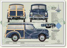 Morris 1000 Traveller 1965-71 classic car portrait print
