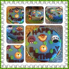 Animal 1st birthday cake