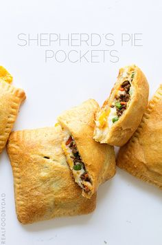 Comfort Food in a Crescent Roll - Quick, easy and delicious. Shepherd's Pie Pockets - Real Food by Dad Beef Recipes, Real Food Recipes, Cooking Recipes, Chicken Recipes, I Love Food, Good Food, Yummy Food, Fun Food, Beste Burger