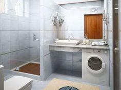 Salle de bains avec machine a laver