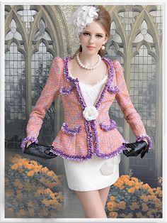 Morpheus Boutique  - Pink Purple Lady Shoulder Knit Long Sleeve Jacket