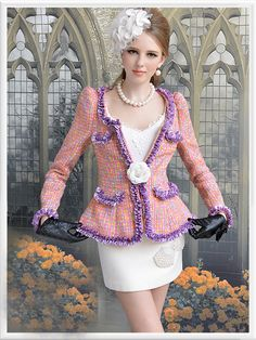 Morpheus Boutique  - Pink Purple Lady Shoulder Knit Long Sleeve Jacket