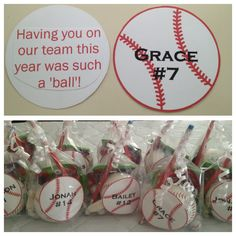 End of season baseball goodie bags for the players from the coaches. Includes a baseball with the team name an year.