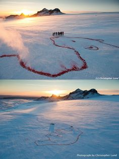 """Artist Bjargey Ólafsdóttir created a """"Red Polar Bear"""" on the Langjökull Glacier in Iceland as part of the 350 EARTH planetary art show. The image is painted with red organic food dye approved for environmental use.    350.org is an international organization that raises awareness about climate safety."""
