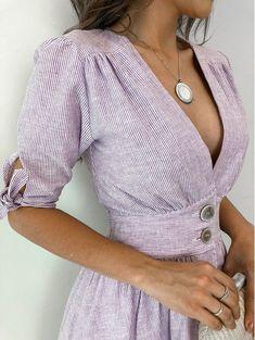 Vestido-Linho-Tayna elegant dress and fashion for women Cute Dresses, Vintage Dresses, Casual Dresses, Fashion Dresses, Summer Outfits, Cute Outfits, Mode Shoes, Retro Fashion, Womens Fashion