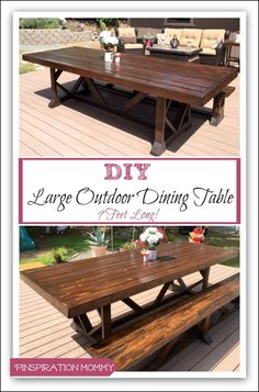 DIY Large Outdoor Dining Table Outdoor Pinterest Outdoor - Large outdoor picnic table