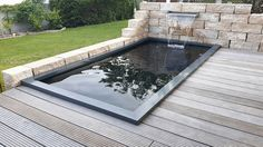 GRP pond pool with waterfall in a wall Stainless steel waterfall .- GFK-Teichbecken mit Wasserfall in Mauer Edelstahl-Wasserfall Formaler Gartenteic… GRP pond pool with a waterfall in a wall Stainless steel waterfall Formal garden pond - Herb Garden Design, Backyard Garden Design, Garden Pond, Terrace Garden, Backyard Patio, Garden Waterfall, Wall Waterfall, Water Features In The Garden, Garden Buildings