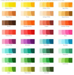 Food Coloring Chart - Helps you obtain different food colors to get that particular color you desire in frosting's etc.