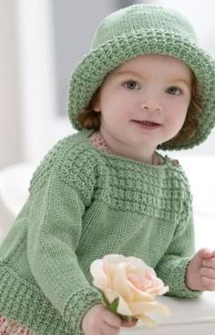 Free Knitting Pattern Boat Neck Sweater and Sun Hat- Intermediate Level - using Red heart Eco-Cotton Blend.. up to size 24 mo.