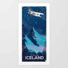 The magic of iceland vintage flight poster