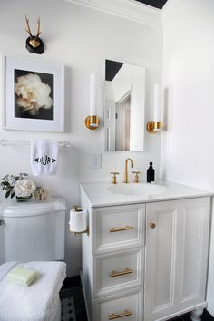 Black & White Bathroom Makeover | Hunted Interior - love those brass handles
