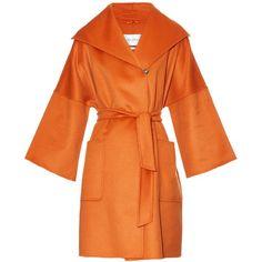 Max Mara Pompeo coat (€2.390) ❤ liked on Polyvore featuring outerwear, coats, cocoon coat, maxmara, wool cashmere coat, orange coat and tie belt
