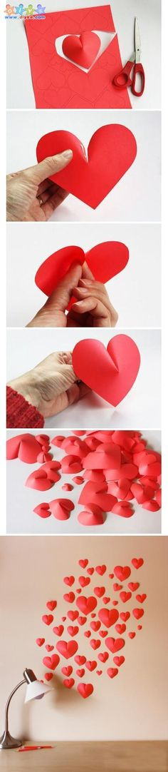 Three-dimensional heart-shaped wall hangings  3D 하트 만들기 DIY