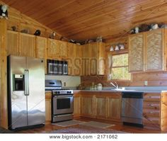 rustic wood ceiling and walls | ... rustic kitchen with knotty pine walls and ceiling and stainless steel