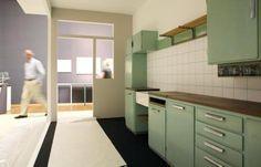De 1e Bruynzeel Keuken ontworpen door Piet Zwart is te bewonderen in het Haags gemeente museum. Kitchen Cabinets, Interior, Modern, Furniture, Home Decor, 30th, Basement, Kitchens, Retro