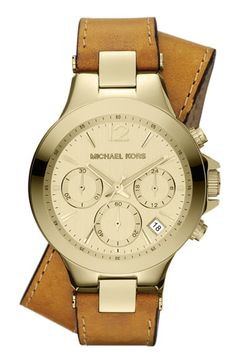 Michael Kors 'Peyton' Double Wrap Leather Strap Watch available at Nordstrom
