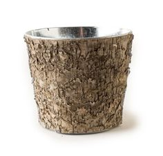 Birch Metal Planter - This charming Birch planter is perfect for the home, cabin or lodge. A strong metal container wrapped in a Birch bark cover, is perfect for holding your favorite flowers, pens and pencils or just about anything.