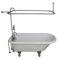 Create a vintage look in your bathroom with this luxurious claw foot tub. It features brushed nickel accessories with a gooseneck spout, shower rod, handshower and riser. Everything you need comes included with this old fashioned tub kit.