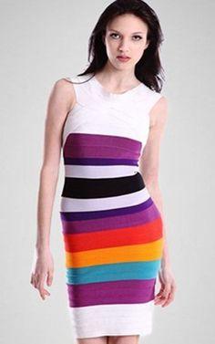 Herve Leger Rainbow Capsleeves Bandage Dress