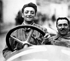 A young Enzo Ferarri behind the wheel of a car he helped bring to life