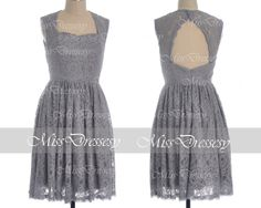 Gray Lace Bridesmaid Dresses Straps Sweetheart by MissDressesy, $119.00