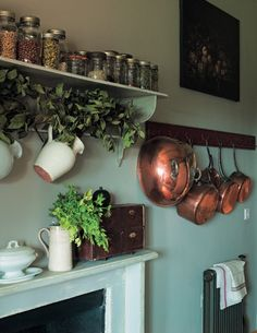 copper // mantel // oil painting // charming kitchen