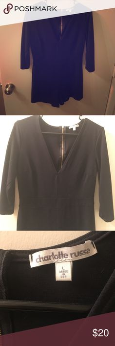 Black Romper Very cute black Romper is perfect to go out in style or to wear casually. Only worn once and in great condition! Charlotte Russe Pants Jumpsuits & Rompers