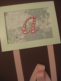 Pink and Gray Letter Bow Holder on Etsy, $18.00