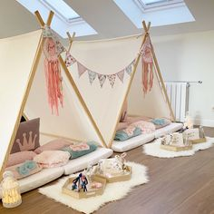 Fun Pajamas Parties - Baby/ Kids room and deco - Birthday Sleepover Ideas, Sleepover Room, Sleepover Activities, Birthday Party For Teens, Slumber Parties, Teepee Party, Teepee Tent, Teepees, Deco Rose