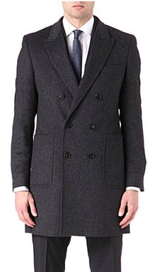 Hugo Boss wool coat Exposed button fastening at front Peak lapels, double-breasted, welt pocket at chest, two patch pockets at front, long sleeves, three-button cuffs, centre back vent, internal pockets, fully lined Angora wool Dry clean http://www.selfridges.com/en/Menswear/Categories/Shop-Clothing/Coats-jackets/Overcoats/Dawn-angora-wool-coat_415-78064228-DAWN50255781/?previewAttribute=Charcoal